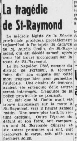 Aurèle Godin décès Le Soleil Août 1951 2