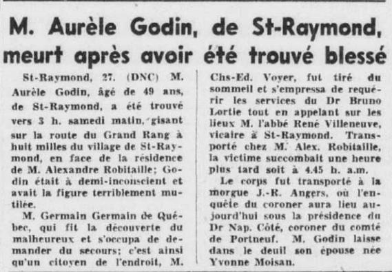 Aurèle Godin décès Le Soleil Août 1951